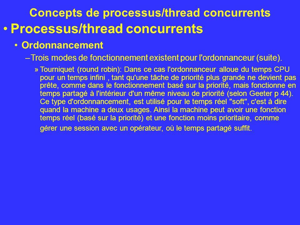 Concepts de processus/thread concurrents Processus/thread concurrents Ordonnancement –Trois modes de fonctionnement existent pour l'ordonnanceur (suit