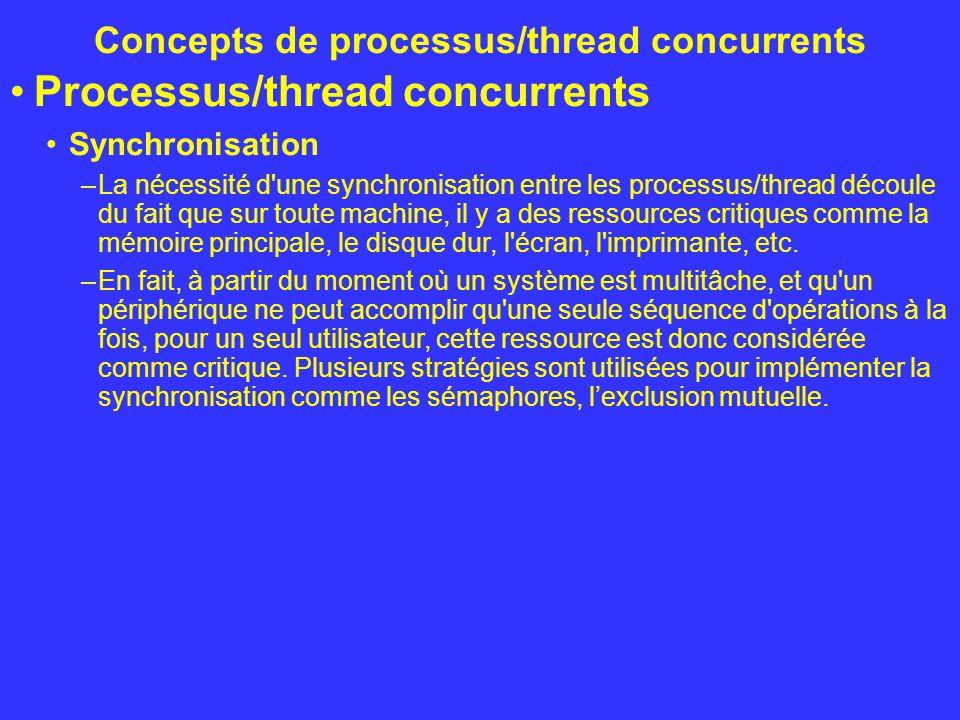 Concepts de processus/thread concurrents Processus/thread concurrents Synchronisation –La nécessité d'une synchronisation entre les processus/thread d