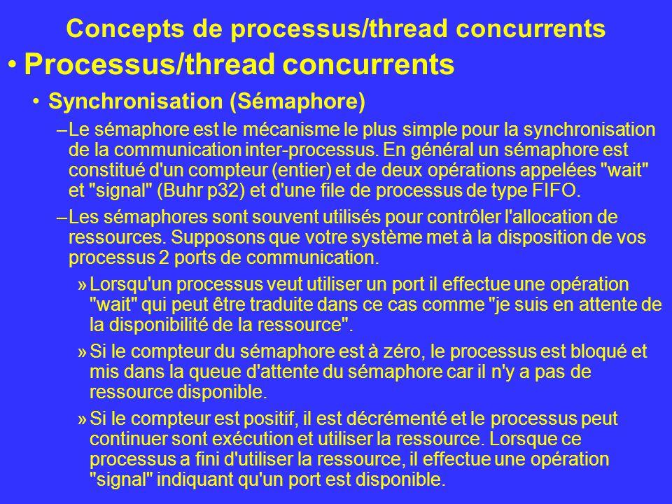 Concepts de processus/thread concurrents Processus/thread concurrents Synchronisation (Sémaphore) –Le sémaphore est le mécanisme le plus simple pour l