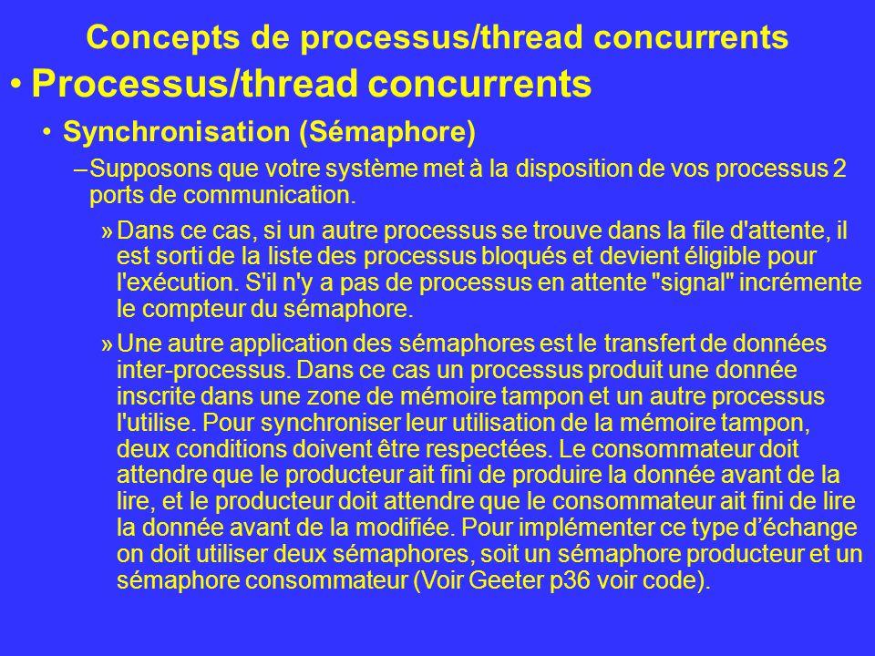Concepts de processus/thread concurrents Processus/thread concurrents Synchronisation (Sémaphore) –Supposons que votre système met à la disposition de