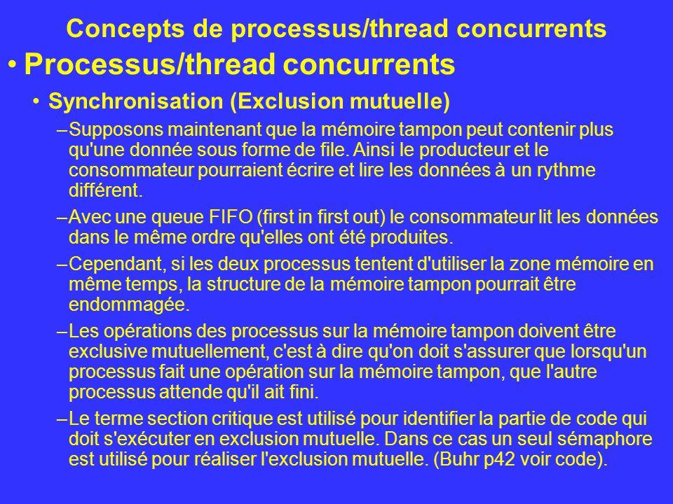 Concepts de processus/thread concurrents Processus/thread concurrents Synchronisation (Exclusion mutuelle) –Supposons maintenant que la mémoire tampon