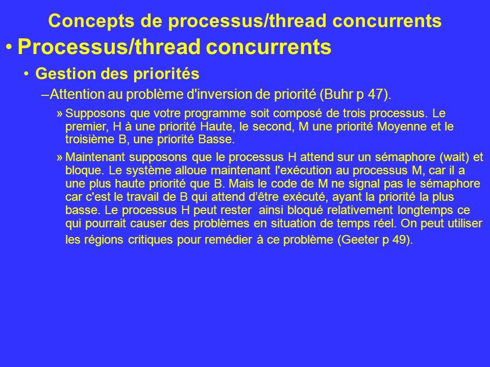 Concepts de processus/thread concurrents Processus/thread concurrents Gestion des priorités –Attention au problème d'inversion de priorité (Buhr p 47)
