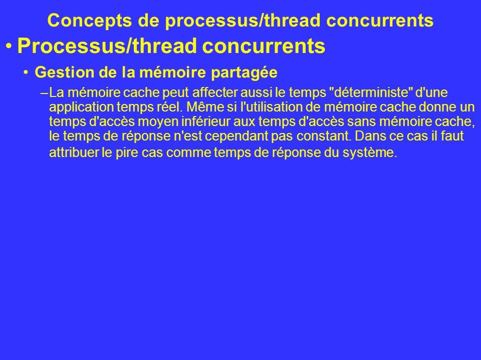 Concepts de processus/thread concurrents Processus/thread concurrents Gestion de la mémoire partagée –La mémoire cache peut affecter aussi le temps