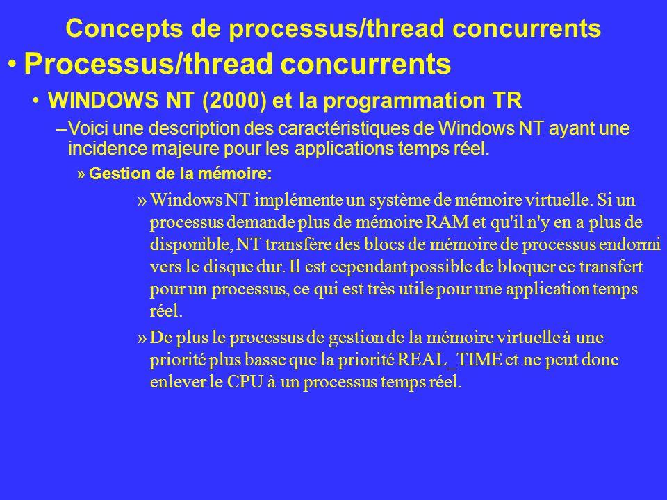 Concepts de processus/thread concurrents Processus/thread concurrents WINDOWS NT (2000) et la programmation TR –Voici une description des caractéristi