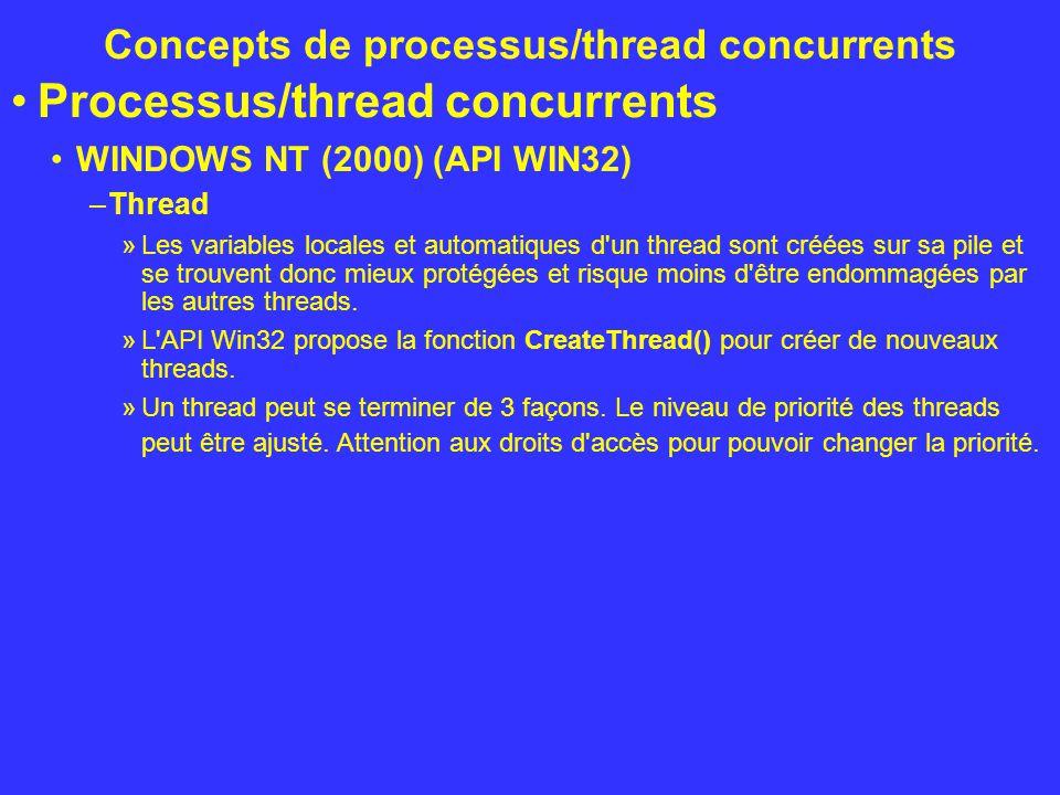 Concepts de processus/thread concurrents Processus/thread concurrents WINDOWS NT (2000) (API WIN32) –Thread »Les variables locales et automatiques d'u