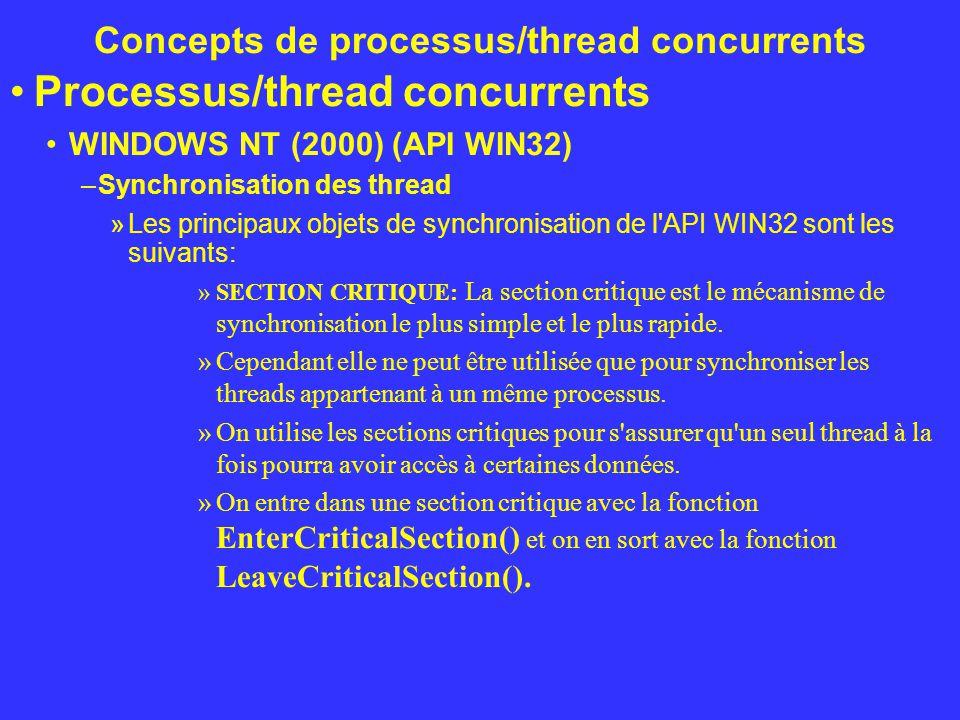 Concepts de processus/thread concurrents Processus/thread concurrents WINDOWS NT (2000) (API WIN32) –Synchronisation des thread »Les principaux objets