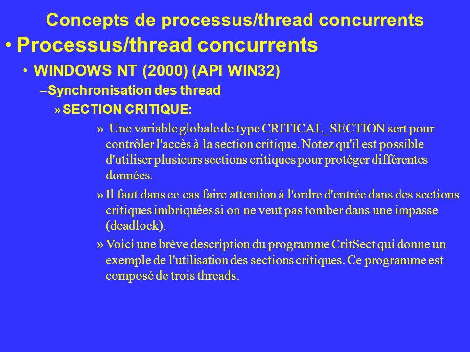 Concepts de processus/thread concurrents Processus/thread concurrents WINDOWS NT (2000) (API WIN32) –Synchronisation des thread »SECTION CRITIQUE: » U
