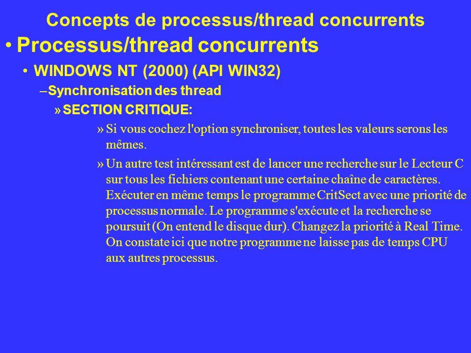 Concepts de processus/thread concurrents Processus/thread concurrents WINDOWS NT (2000) (API WIN32) –Synchronisation des thread »SECTION CRITIQUE: »Si