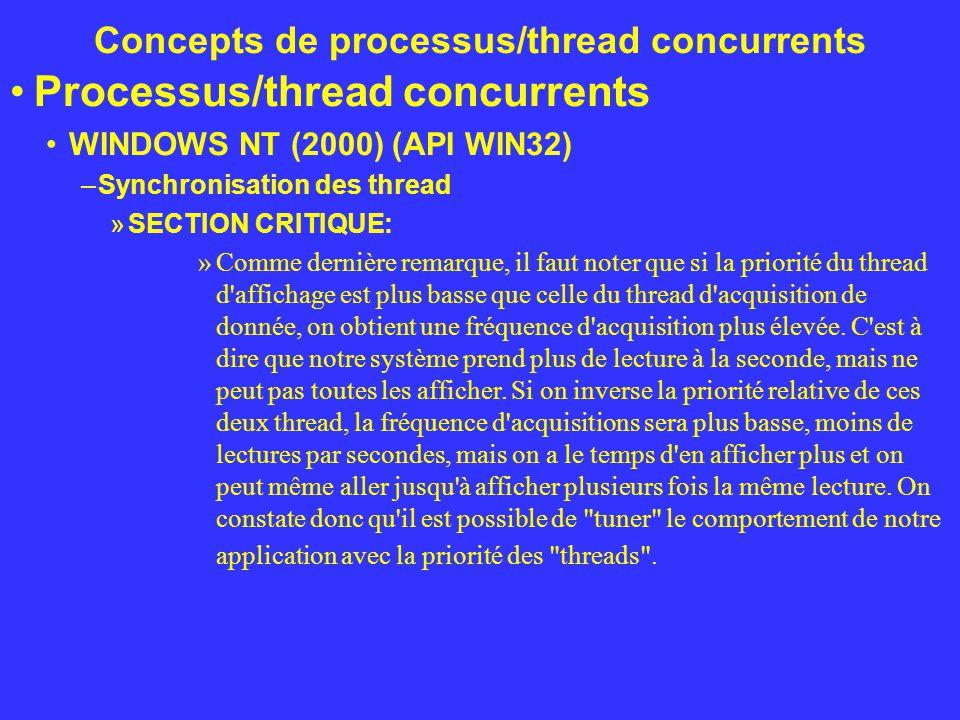 Concepts de processus/thread concurrents Processus/thread concurrents WINDOWS NT (2000) (API WIN32) –Synchronisation des thread »SECTION CRITIQUE: »Co