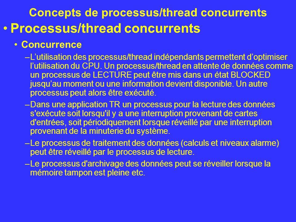 Concepts de processus/thread concurrents Processus/thread concurrents Ordonnancement –Afin de pouvoir gérer les processus le système d exploitation doit pouvoir mémoriser l état et la priorité des processus.