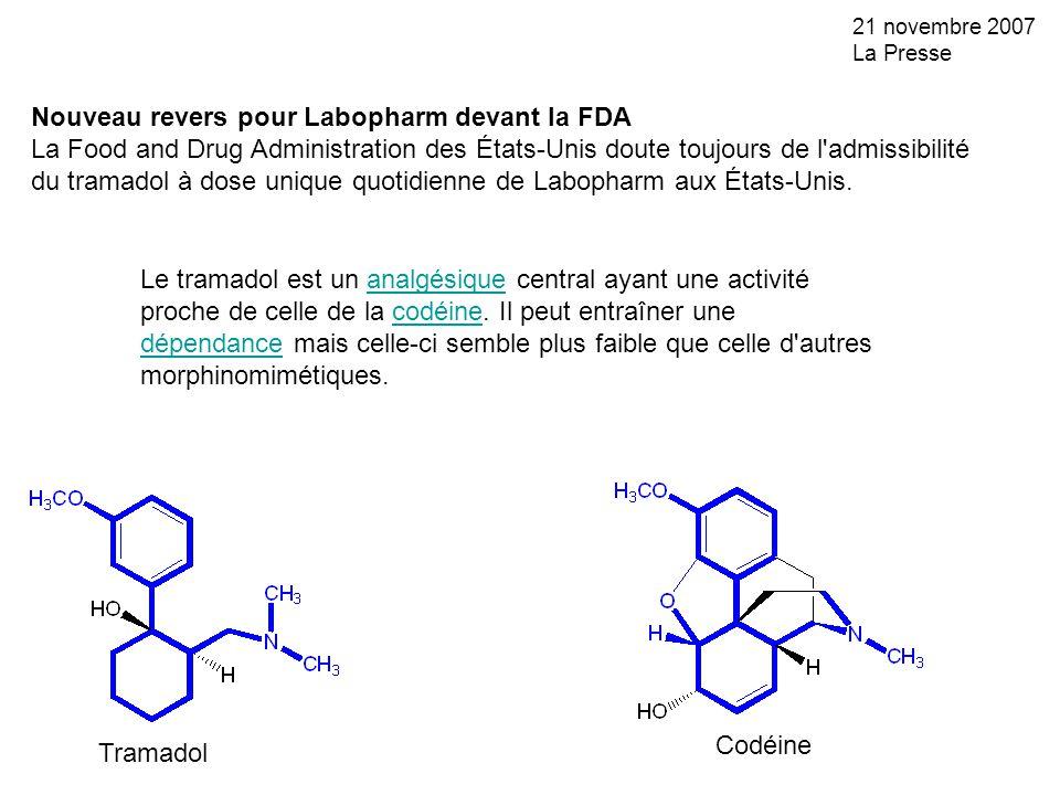Nouveau revers pour Labopharm devant la FDA La Food and Drug Administration des États-Unis doute toujours de l'admissibilité du tramadol à dose unique