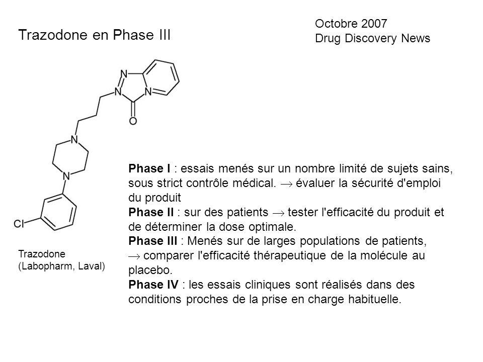 Trazodone en Phase III Octobre 2007 Drug Discovery News Trazodone (Labopharm, Laval) Phase I : essais menés sur un nombre limité de sujets sains, sous