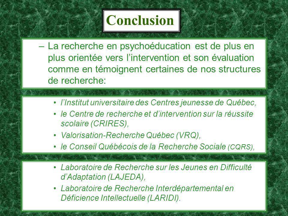 20 Conclusion –La recherche en psychoéducation est de plus en plus orientée vers lintervention et son évaluation comme en témoignent certaines de nos structures de recherche: lInstitut universitaire des Centres jeunesse de Québec, le Centre de recherche et dintervention sur la réussite scolaire (CRIRES), Valorisation-Recherche Québec (VRQ), le Conseil Québécois de la Recherche Sociale (CQRS), Laboratoire de Recherche sur les Jeunes en Difficulté dAdaptation (LAJEDA), Laboratoire de Recherche Interdépartemental en Déficience Intellectuelle (LARIDI).