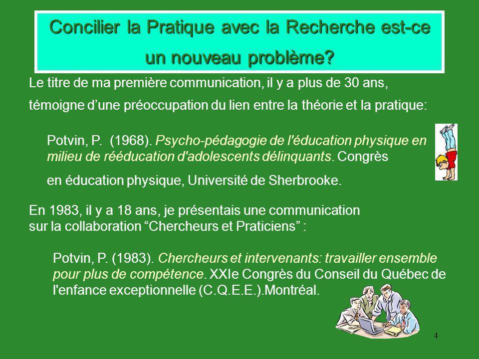 4 Concilier la Pratique avec la Recherche est-ce un nouveau problème.