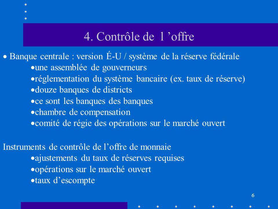 6 4. Contrôle de l offre Banque centrale : version É-U / système de la réserve fédérale une assemblée de gouverneurs réglementation du système bancair