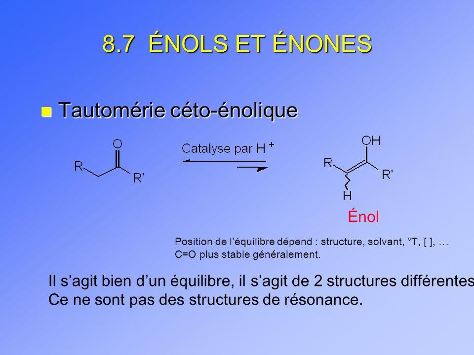 8.7 ÉNOLS ET ÉNONES n Tautomérie céto-énolique Énol Position de léquilibre dépend : structure, solvant, °T, [ ], … C=O plus stable généralement.