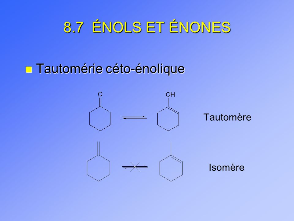 8.7 ÉNOLS ET ÉNONES n Tautomérie céto-énolique Tautomère Isomère