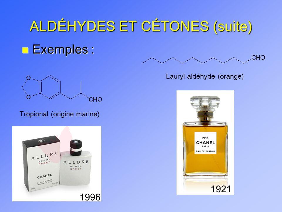 ALDÉHYDES ET CÉTONES (suite) n Exemples : Butane-2,3-dione (Diacétyl) Depuis 2001, plusieurs poursuites contre des compagnies commercialisant le diacétyl (e.g.