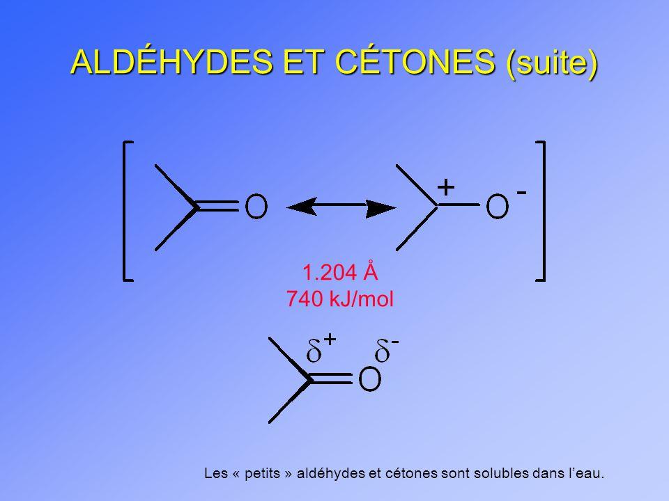1.204 Å 740 kJ/mol Les « petits » aldéhydes et cétones sont solubles dans leau.