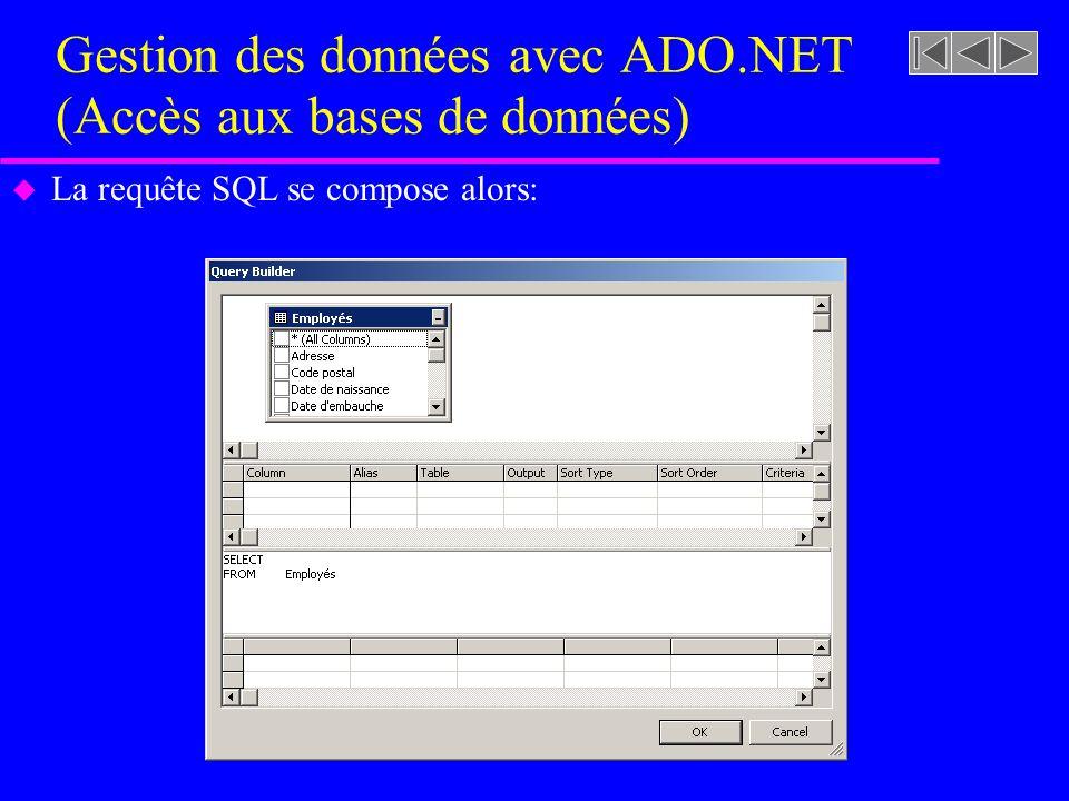 Gestion des données avec ADO.NET (Accès aux bases de données) u La requête SQL se compose alors: