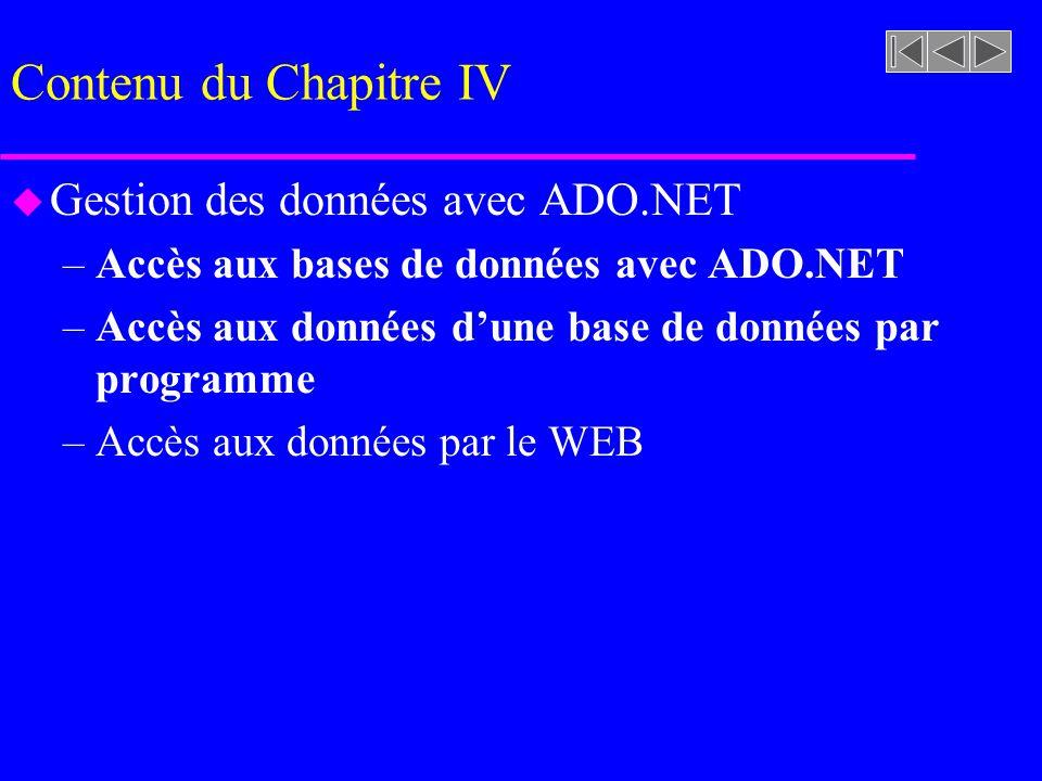 Contenu du Chapitre IV u Gestion des données avec ADO.NET –Accès aux bases de données avec ADO.NET –Accès aux données dune base de données par programme –Accès aux données par le WEB