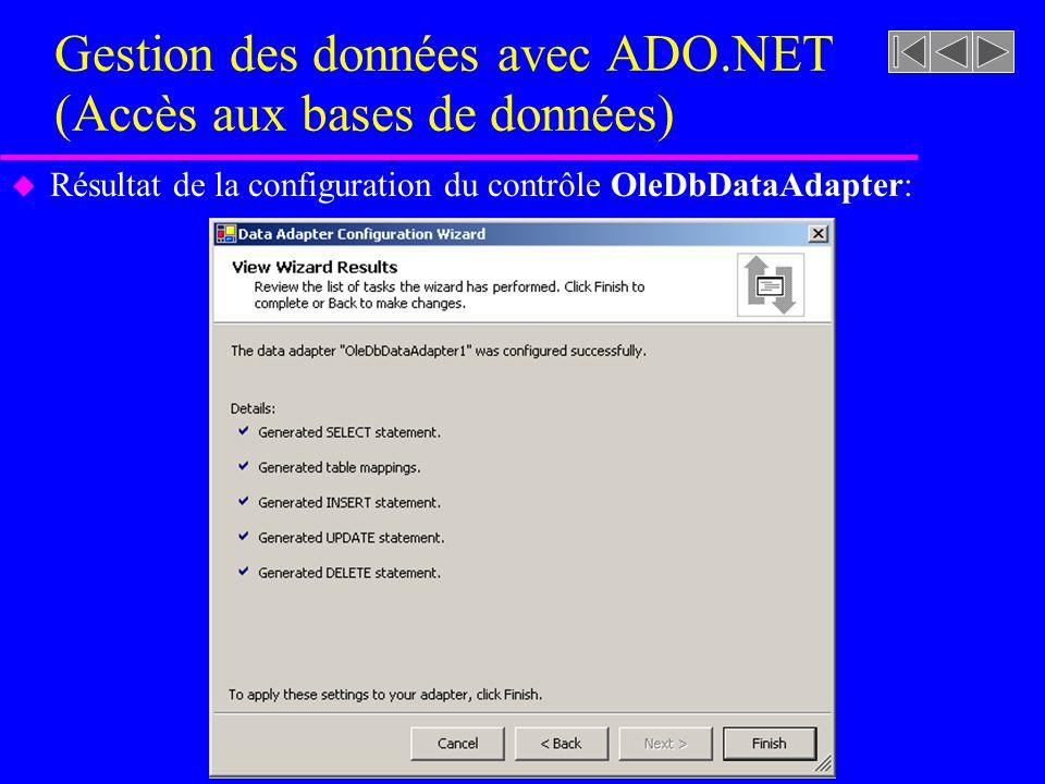Gestion des données avec ADO.NET (Accès aux bases de données) u Résultat de la configuration du contrôle OleDbDataAdapter: