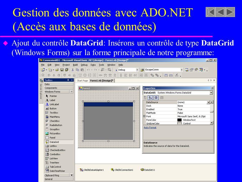 Gestion des données avec ADO.NET (Accès aux bases de données) u Ajout du contrôle DataGrid: Insérons un contrôle de type DataGrid (Windows Forms) sur la forme principale de notre programme: