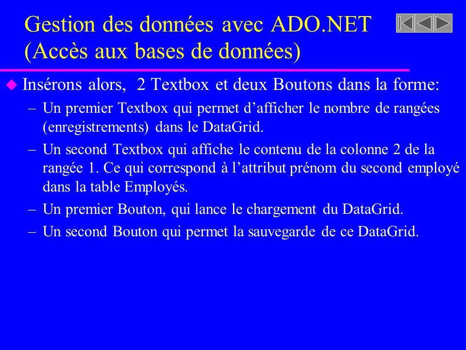 Gestion des données avec ADO.NET (Accès aux bases de données) u Insérons alors, 2 Textbox et deux Boutons dans la forme: –Un premier Textbox qui permet dafficher le nombre de rangées (enregistrements) dans le DataGrid.