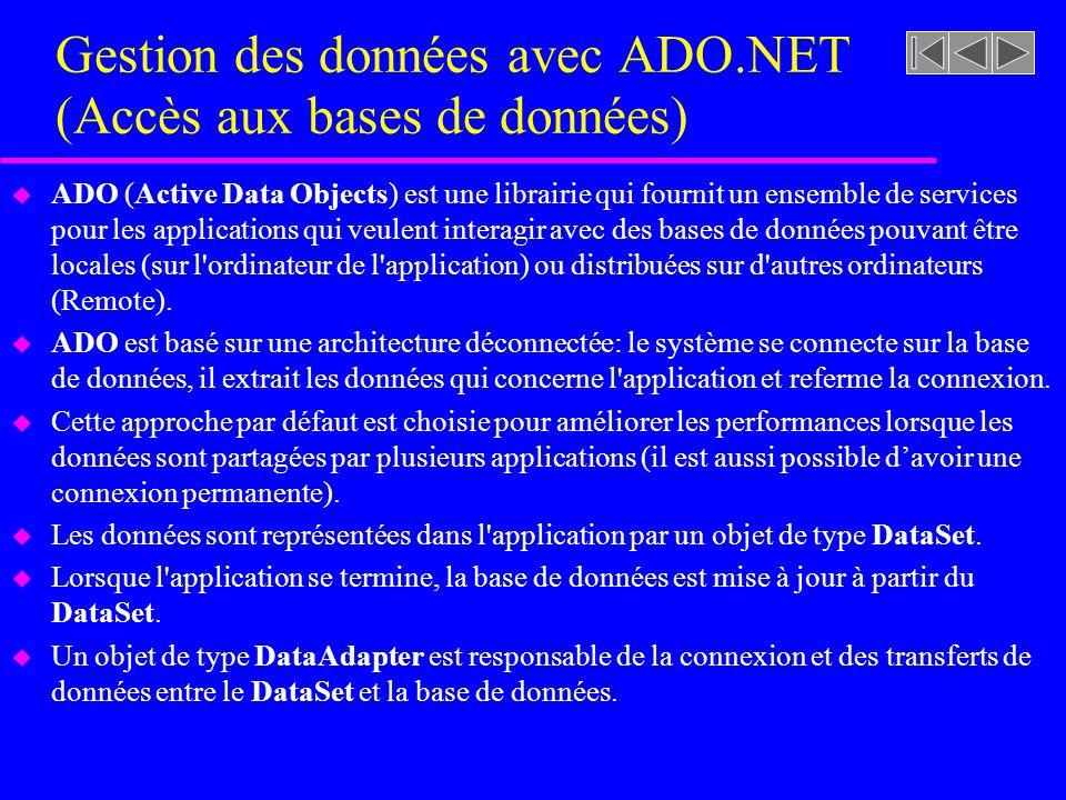 Gestion des données avec ADO.NET (Accès aux bases de données) u ADO (Active Data Objects) est une librairie qui fournit un ensemble de services pour les applications qui veulent interagir avec des bases de données pouvant être locales (sur l ordinateur de l application) ou distribuées sur d autres ordinateurs (Remote).