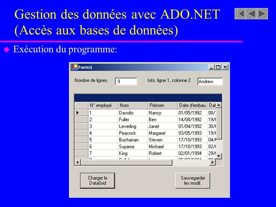 Gestion des données avec ADO.NET (Accès aux bases de données) u Exécution du programme: