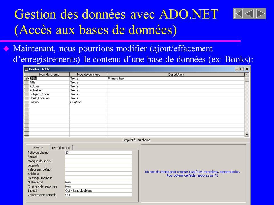 Gestion des données avec ADO.NET (Accès aux bases de données) u Maintenant, nous pourrions modifier (ajout/effacement denregistrements) le contenu dune base de données (ex: Books):