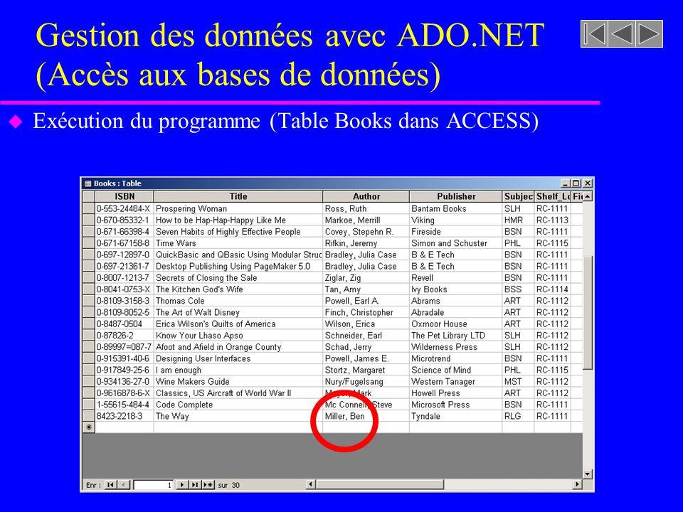 Gestion des données avec ADO.NET (Accès aux bases de données) u Exécution du programme (Table Books dans ACCESS)