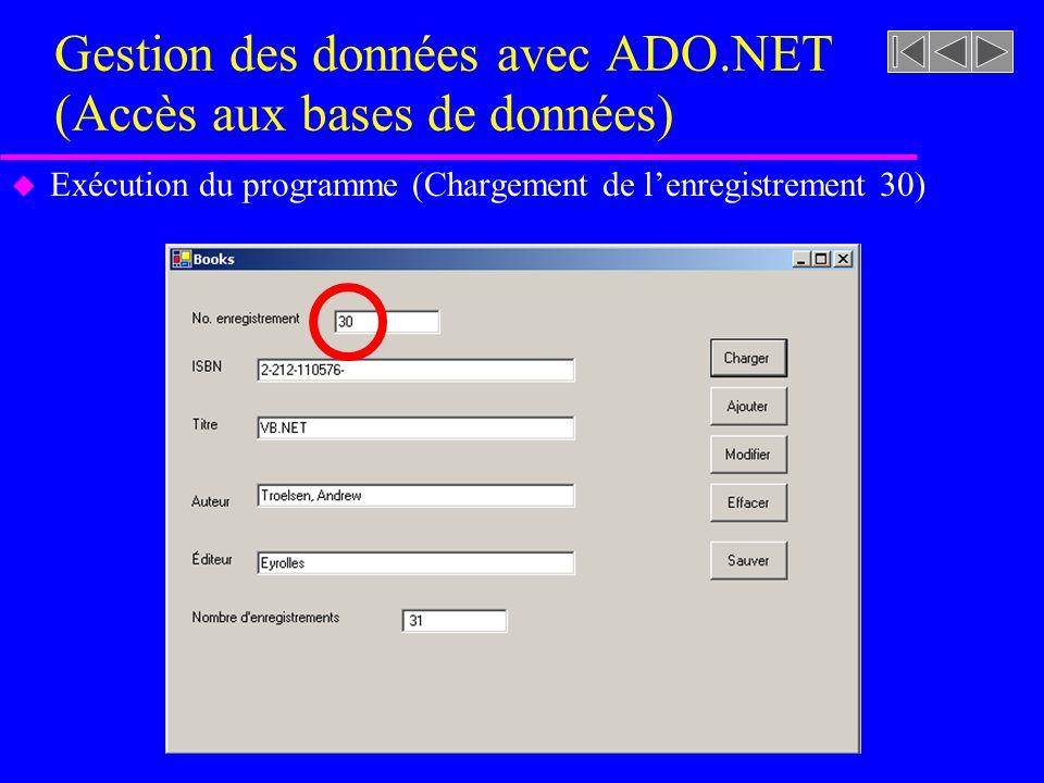 Gestion des données avec ADO.NET (Accès aux bases de données) u Exécution du programme (Chargement de lenregistrement 30)