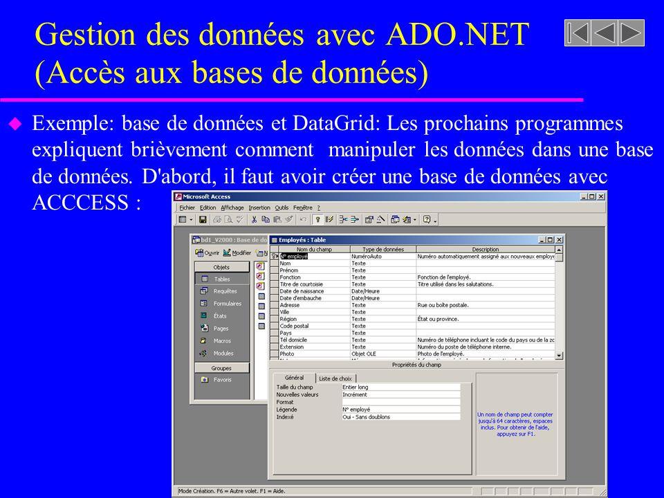 Gestion des données avec ADO.NET (Accès aux bases de données) u Exemple: base de données et DataGrid: Les prochains programmes expliquent brièvement comment manipuler les données dans une base de données.