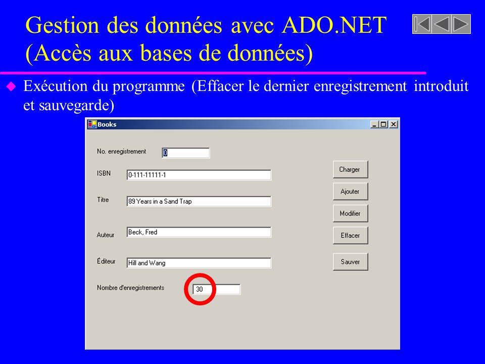 Gestion des données avec ADO.NET (Accès aux bases de données) u Exécution du programme (Effacer le dernier enregistrement introduit et sauvegarde)