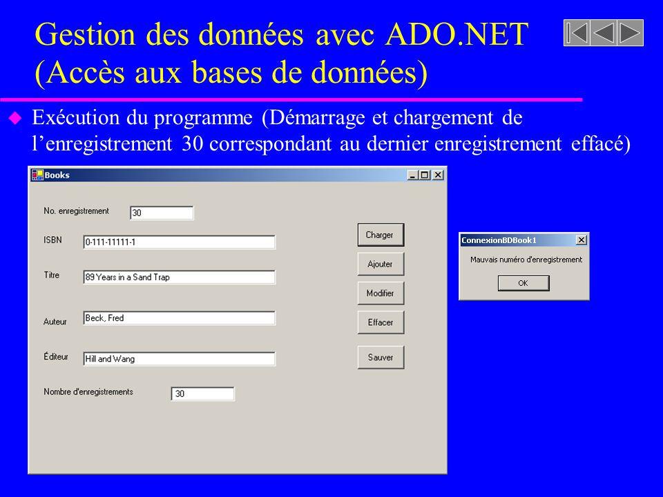 Gestion des données avec ADO.NET (Accès aux bases de données) u Exécution du programme (Démarrage et chargement de lenregistrement 30 correspondant au dernier enregistrement effacé)