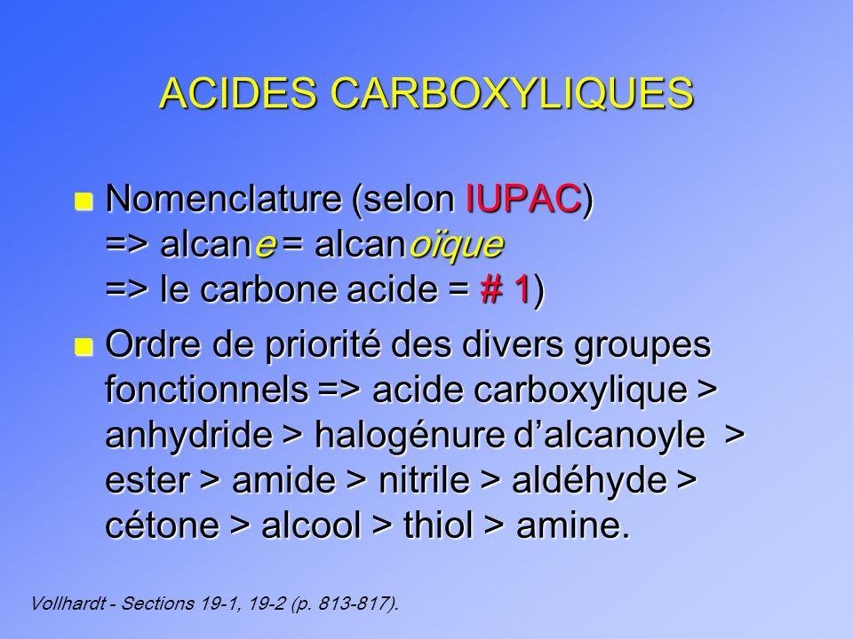 ACIDES CARBOXYLIQUES n Nomenclature (selon IUPAC) => alcane = alcanoïque => le carbone acide = # 1) n Ordre de priorité des divers groupes fonctionnels => acide carboxylique > anhydride > halogénure dalcanoyle > ester > amide > nitrile > aldéhyde > cétone > alcool > thiol > amine.