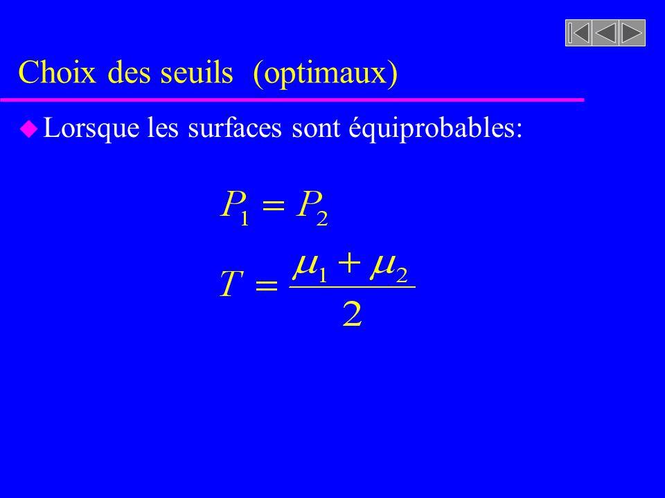 Choix des seuils (optimaux) u Lorsque les variances sont égales: