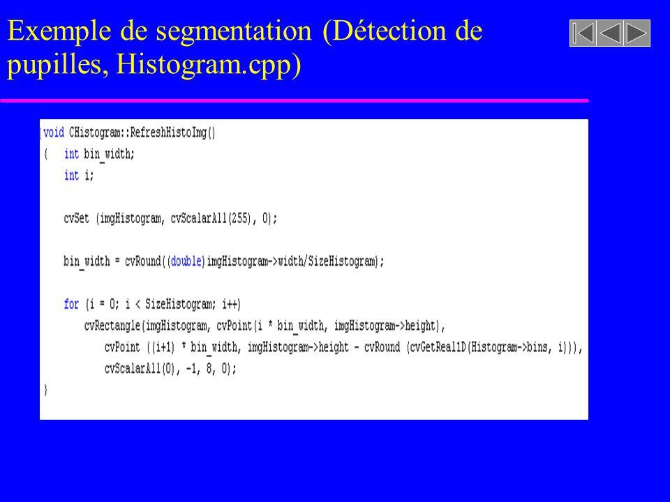 imageasegmenter.rast Exemple de segmentation (Détection de pupilles, Histogram.cpp, ThreshHistogram …)