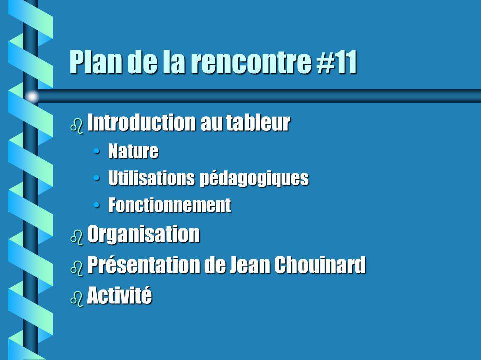 Plan de la rencontre #11 b Introduction au tableur NatureNature Utilisations pédagogiquesUtilisations pédagogiques FonctionnementFonctionnement b Organisation b Présentation de Jean Chouinard b Activité