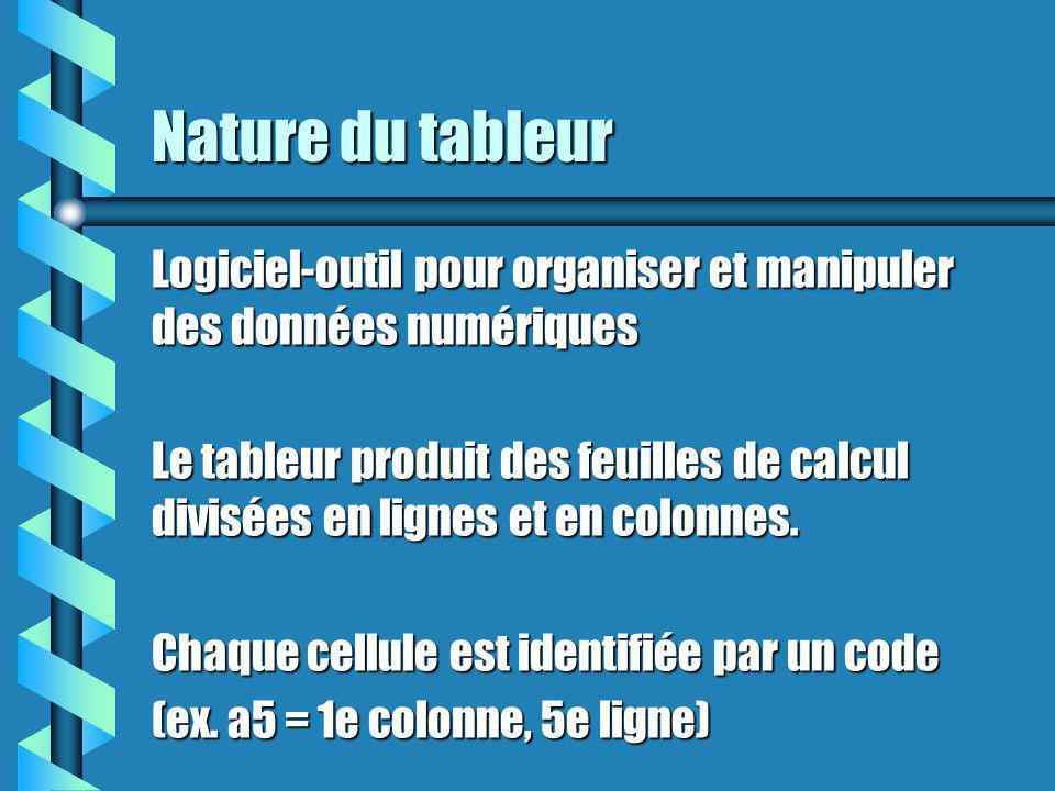 Nature du tableur Logiciel-outil pour organiser et manipuler des données numériques Le tableur produit des feuilles de calcul divisées en lignes et en colonnes.