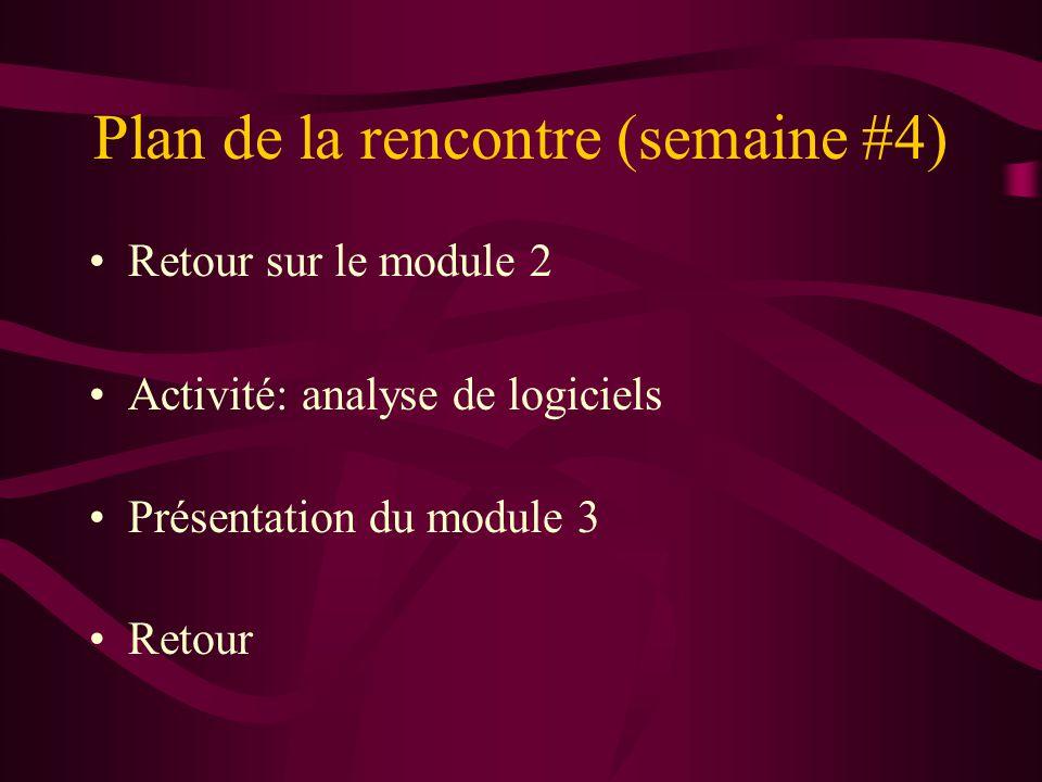Plan de la rencontre (semaine #4) Retour sur le module 2 Activité: analyse de logiciels Présentation du module 3 Retour