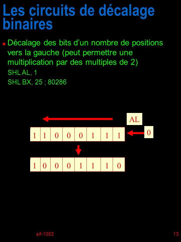 sif-105313 Les circuits de décalage binaires n Décalage des bits dun nombre de positions vers la gauche (peut permettre une multiplication par des multiples de 2) SHL AL, 1 SHL BX, 25 ; 80286 11001011 AL 0 10000111