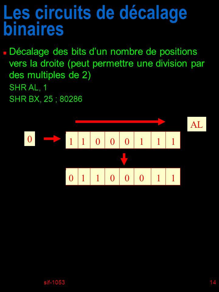 sif-105314 Les circuits de décalage binaires n Décalage des bits dun nombre de positions vers la droite (peut permettre une division par des multiples de 2) SHR AL, 1 SHR BX, 25 ; 80286 11001011 AL 0 01101001