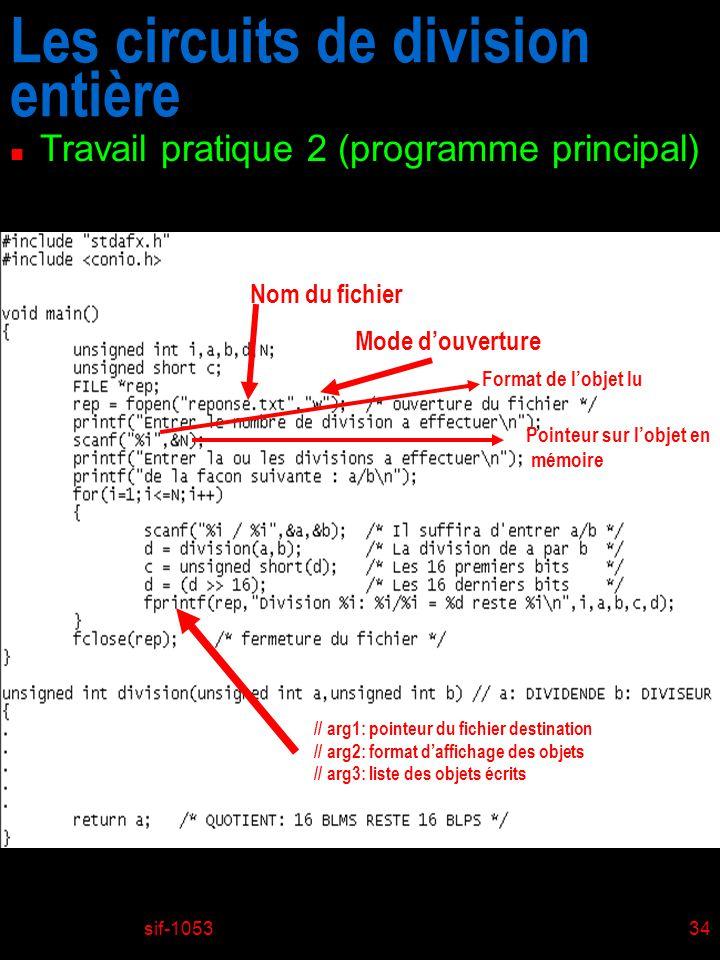 sif-105334 Les circuits de division entière n Travail pratique 2 (programme principal) Nom du fichier Mode douverture // arg1: pointeur du fichier destination // arg2: format daffichage des objets // arg3: liste des objets écrits Format de lobjet lu Pointeur sur lobjet en mémoire