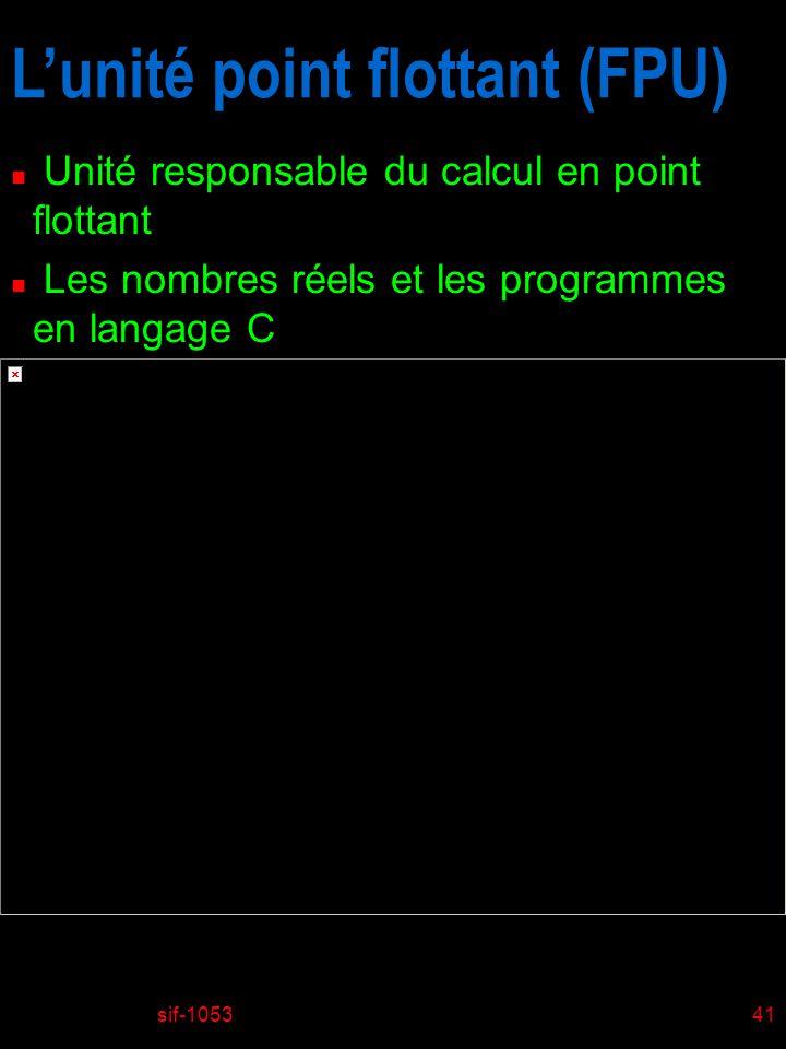 sif-105341 Lunité point flottant (FPU) n Unité responsable du calcul en point flottant n Les nombres réels et les programmes en langage C