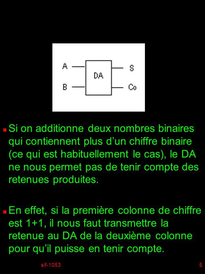 sif-10535 n Si on additionne deux nombres binaires qui contiennent plus dun chiffre binaire (ce qui est habituellement le cas), le DA ne nous permet pas de tenir compte des retenues produites.
