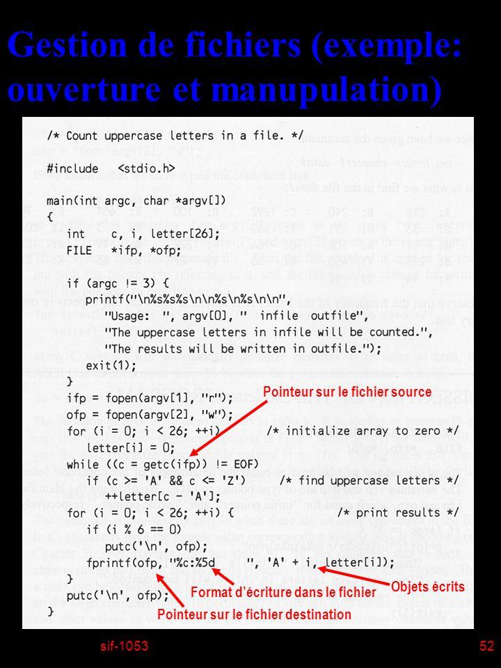 sif-105352 Gestion de fichiers (exemple: ouverture et manupulation) Pointeur sur le fichier destination Format décriture dans le fichier Objets écrits Pointeur sur le fichier source