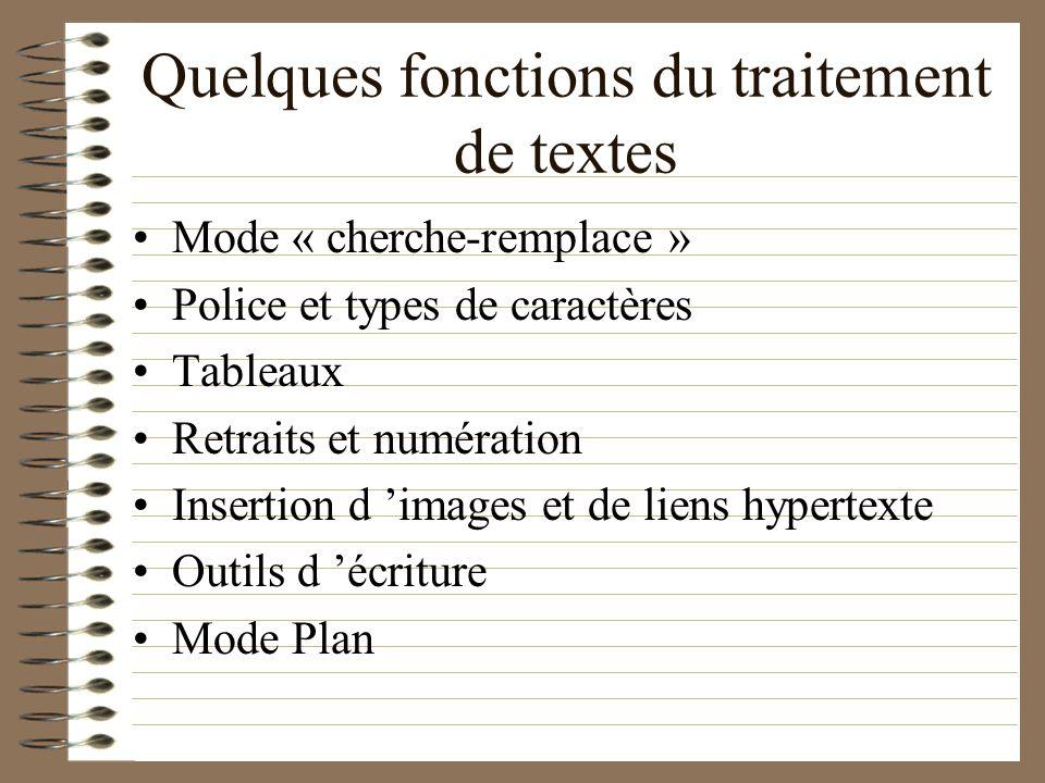 Quelques fonctions du traitement de textes Mode « cherche-remplace » Police et types de caractères Tableaux Retraits et numération Insertion d images et de liens hypertexte Outils d écriture Mode Plan