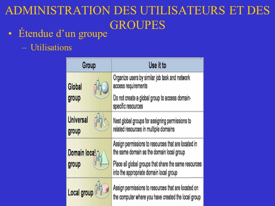 ADMINISTRATION DES UTILISATEURS ET DES GROUPES Étendue dun groupe –Utilisations